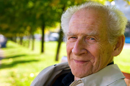 face portrait of an old smiling man Stock Photo