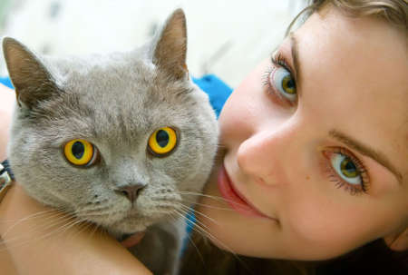 close-up portrait of a beautiful girl with green eyes holding british cat Stockfoto