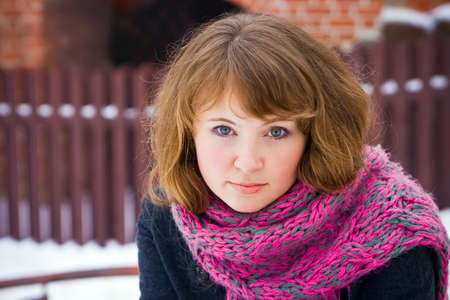 portrait of a beautiful young woman with pink scarf Stock Photo - 6598014