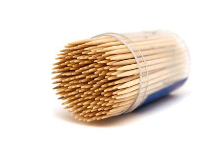 close-up toothpicks isolated on white background photo