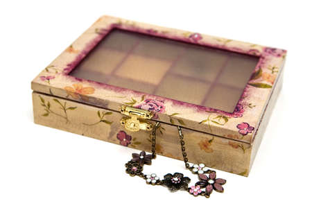 pink decoupage box for bijouterie, isolated on white background photo