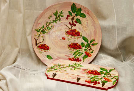 decoupage: pink decoupage plate and towel rail with white flowers and red ashberries