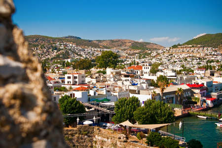 view of the Bodrum city in Turkey through the wall of the castle