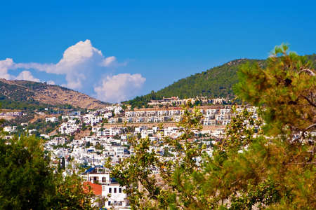 view of the white houses in Bodrum, Turkey, on the Aegean sea Stock Photo