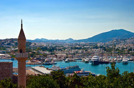 aegean: view of the city Bodrum in Turkey, on the Aegean sea Stock Photo
