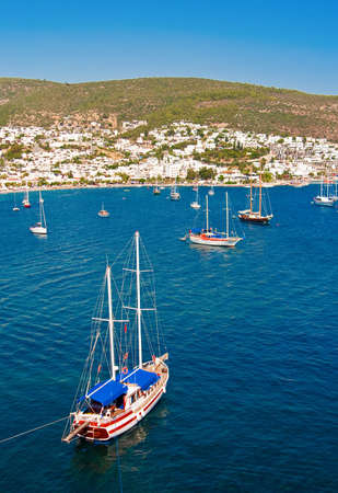 beautiful seascape with yachts in Bodrum, Turkey