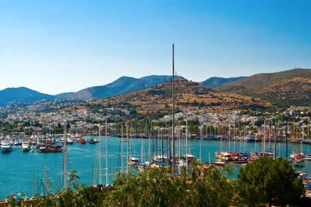 view of the harbour with yachts, in Bodrum, Turkey