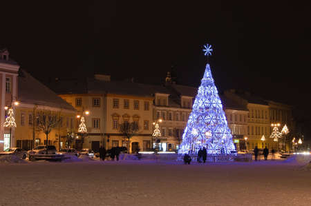 view of the square with christmas tree in Vilnius, Lithuania