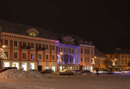 vilnius: night view of the square and houses in Vilnius, Lithuania
