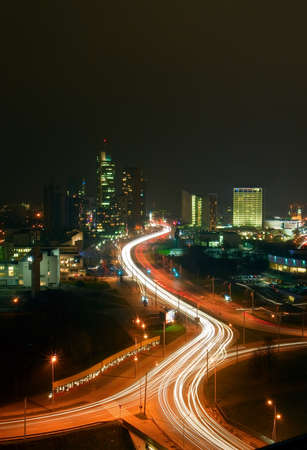 panorama of the business centre of Vilnius city - capital of Lithuania, night shot photo