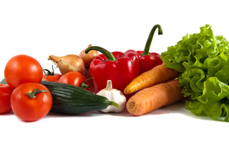 close-up still life with mixed vegetables, isolated on white background