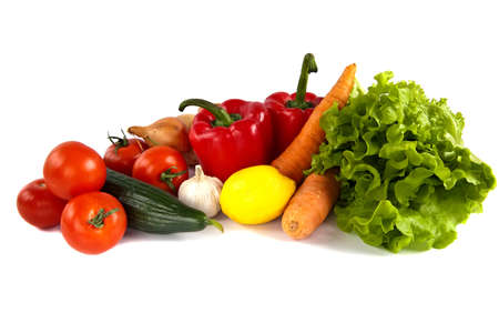 close-up still life with mixed vegetables, isolated on white background Stock Photo - 9113444
