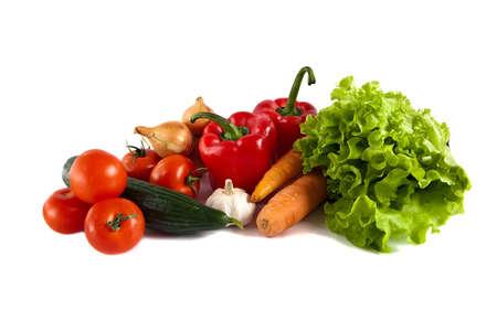 Close-up Stilleven met gemengde groenten, geïsoleerd op witte achtergrond Stockfoto - 9192162