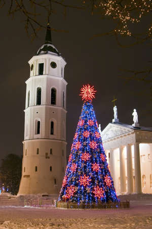 night view of the christmas tree and bell tower on a Cathedral square in Vilnius, Lithuania