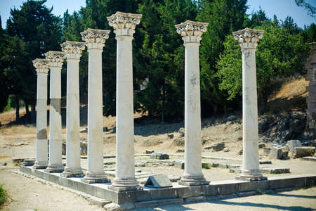 kos: seven columns in Asklepion - place on the island Kos in Greece, where Hippocrates worked  Stock Photo