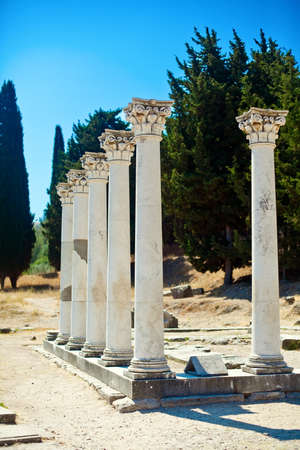 kos: seven columns in Asklepion - place on the island Kos in Greece, where Hippocrates worked