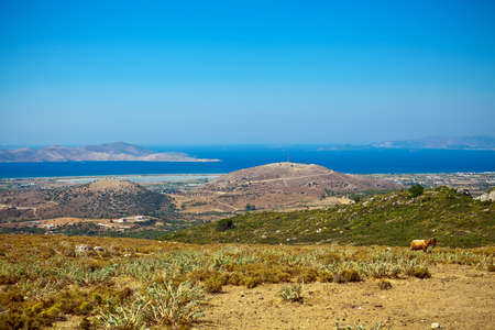 dodecanese: panorama of the Kos Island with salt lake and hills, Greece, Dodecanese
