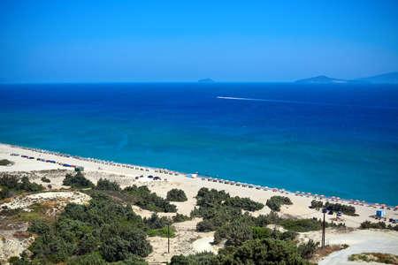 beautiful Sunny Beach with white sand on a Kos Island, Greece, Dodecanese photo