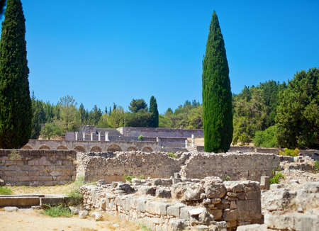 dodecanese: view of the Asklepion - archaeological site in Kos, Dodecanese, Greece