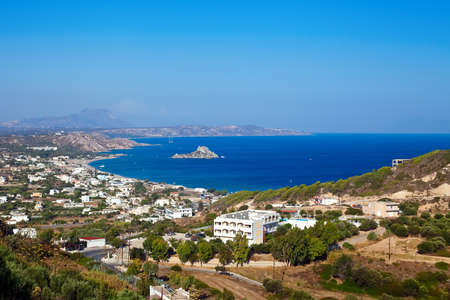 kos: panorama of the Kamari bay with little island Kastri in the south part of the Kos in Greece, Dodecanese
