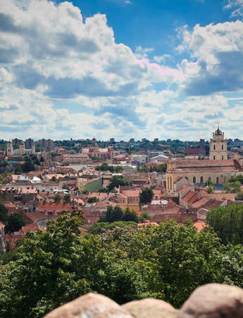 beautiful panorama of Old town in Vilnius - capital of Lithuania, from the Tower of Gediminas photo