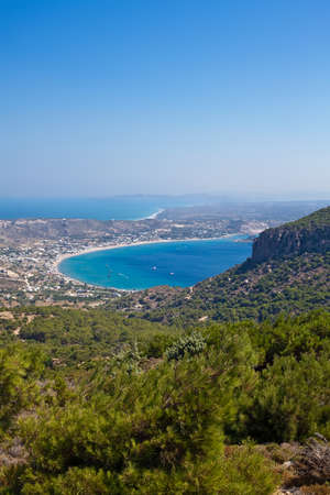 dodecanese: panorama of the Kamari bay in the south part of the Kos Island in Greece, Dodecanese Stock Photo