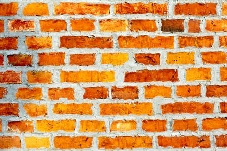the facade view of the old brick wall for design background Stock Photo