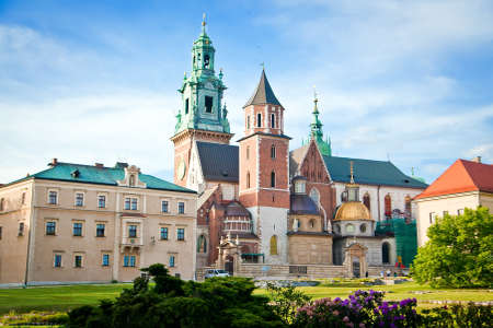 the Basilica of St Stanislaw and Vaclav or Wawel Cathedral on Wawel Hill in Krakow, Poland Stockfoto