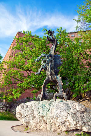 wawel: Wawel dragon sculpture, it is located in a cave under Wawel Hill in Krakow, Poland