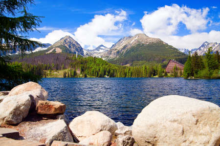 highlands region: beautiful lake in Slovakia in High Tatras named Strbske Pleso
