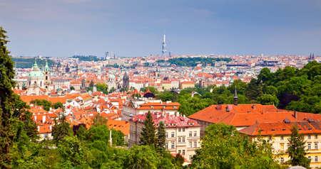 beautiful Prague skyline from Petrin Hill photo