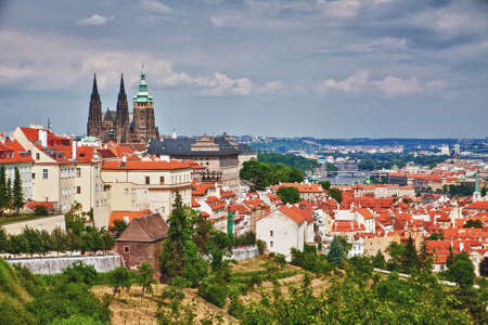 beautiful Prague with its St.Vitus Cathedral, view from Petrin Hill photo