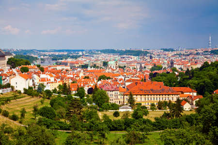 beautiful panorama view of Prague and its architecture from Petrin Hill photo