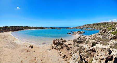 beautiful sunny day with blue sky at Aspri Limni in Crete, Greece photo
