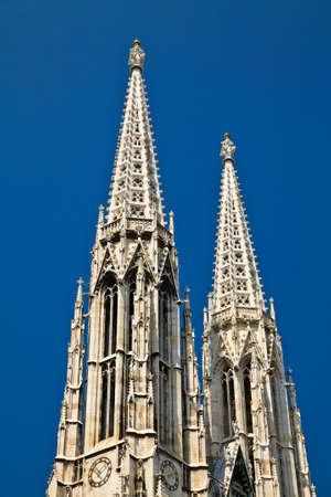 spires: twin spires of the Votive church in Vienna, Austria