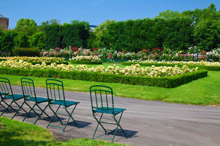 innere: chairs and flowers in Volksgarten - a public park in the Innere Stadt Vienna, Austria