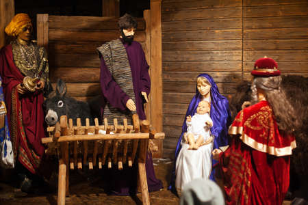 Christmas nativity figurines of Mary, Joseph and Baby Jesus with the Wise Men and animals