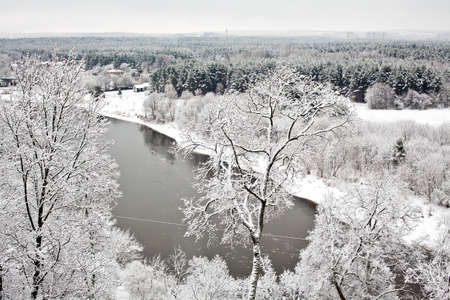 snowcovered: view of a snow-covered area near Vilnius, capital of Lithuania