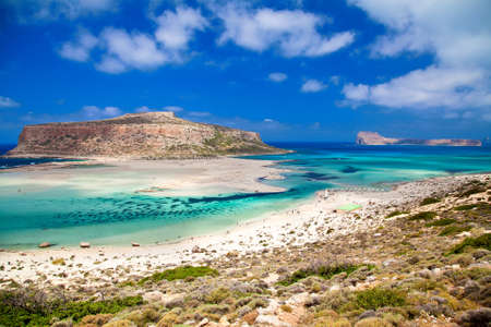 two famous islands of Crete - Balo and Gramvousa Stock Photo