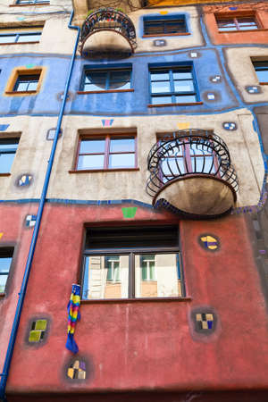 famous building: part of a famous building in Vienna named Hundertwasser house