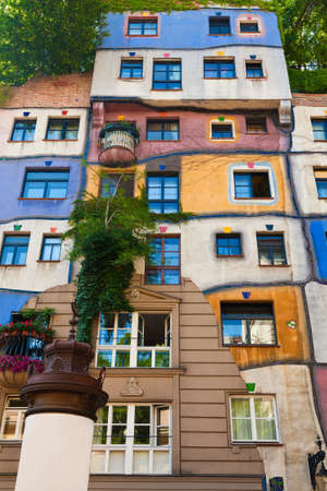 part of a famous building in Vienna named Hundertwasser house photo