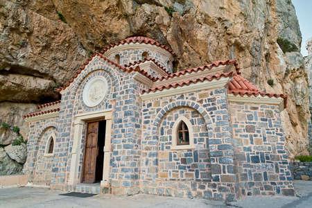 'saint nicholas': orthodox church of Saint Nicholas the Wonderworker, built under the rock, Crete, Greece