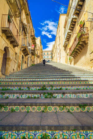 famous steps with ceramic tiles named Santa Maria del Monte at Caltagirone, Sicily