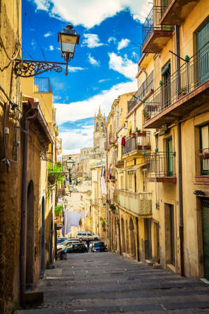 narrow cozy street at the famous place of Sicily - Caltagirone, the city of ceramic craftsmen