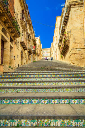 famous staircase named Santa Maria del Monte at Caltagirone, Sicily Stockfoto