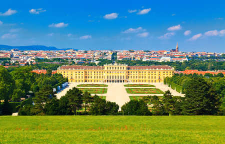 high park: view of the Vienna and Schonbrunn Park with its beautiful palace, Austria Editorial