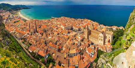 panoramic view of village Cefalu from above, Sicily, Italy