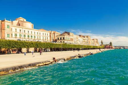ortigia: the quayside of an old town of Siracusa located on the island Ortigia