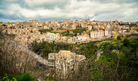 view of the city Enna in spring - the highest town in Sicily photo