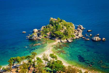 bella: beach and island Isola Bella at Taormina, Sicily